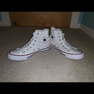 NEVER WORN white high top converse